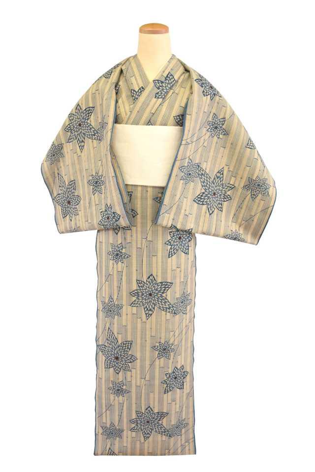 【反物】女性 『奥州小紋』竹縞に菊華楓取り