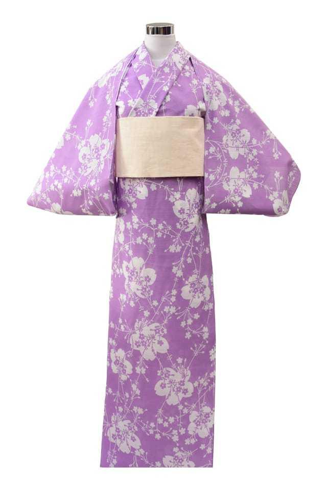 【反物】女性 『綿絽地染』パープル地桜柄
