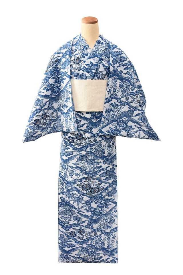 【反物】女性 『紅梅小紋』松皮菱取り四季花模様