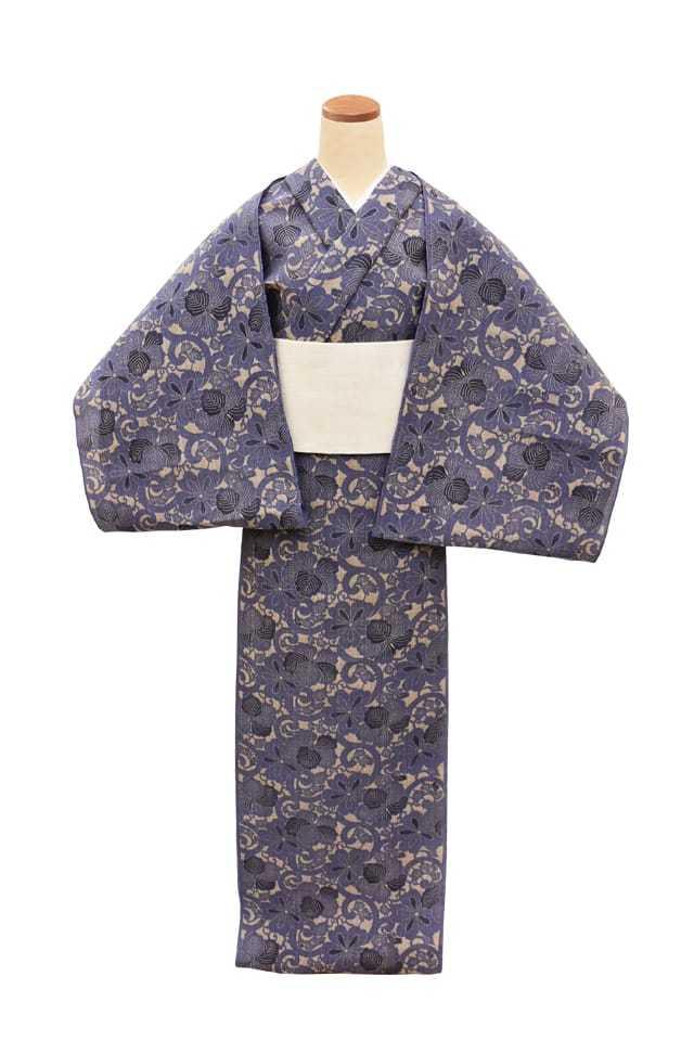 【反物】女性 『松煙染小紋』桐桜唐草