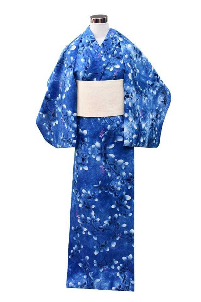 【反物】女性 『玉むし』コーマクレヤーぼかし 萩 ブルー