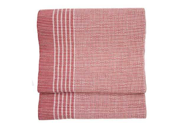 『麻織八寸帯』片寄縞・赤色