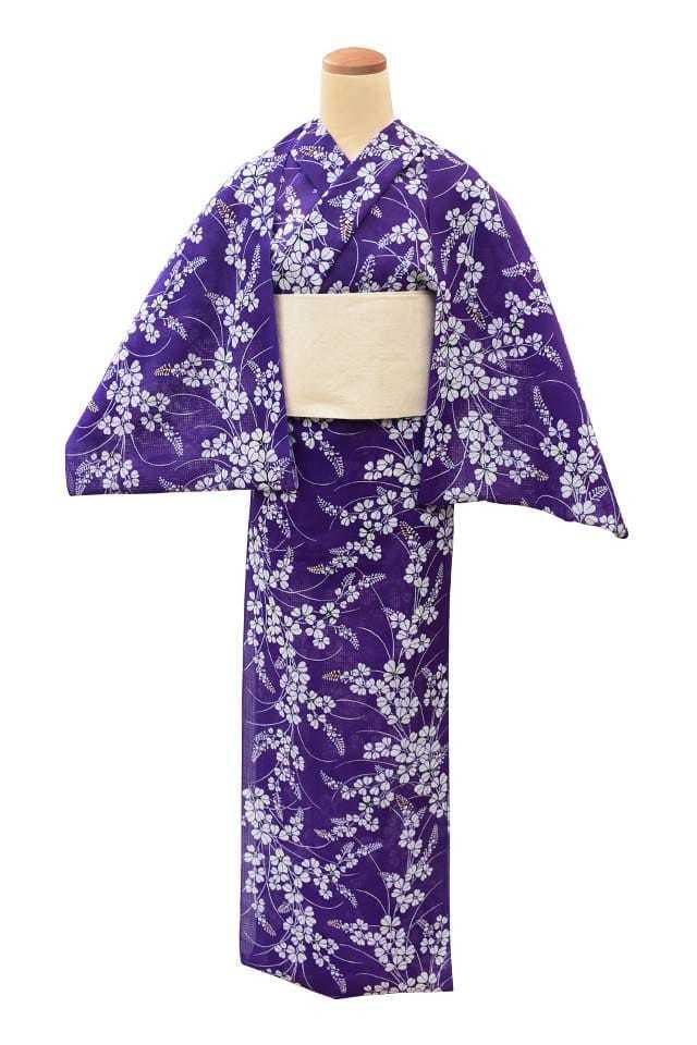 【反物】女性 『紅梅小紋』萩 地染中柄 紫地
