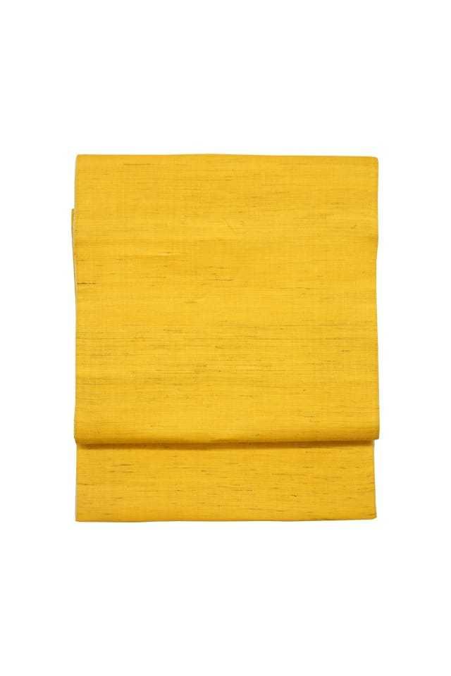 【麻八寸帯】 黄色×生成