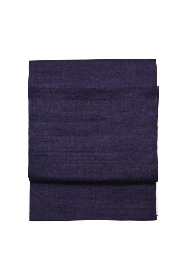 【麻八寸帯】 濃紫色×生成