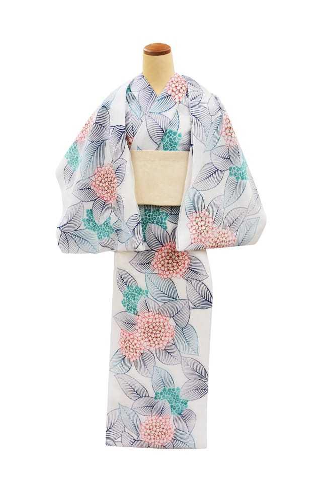 【反物】女性 『綿絽白地』紫陽花 ピンクミントぼかし
