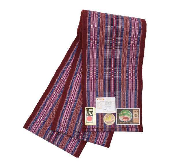【道屯花織半巾帯】臙脂紫青