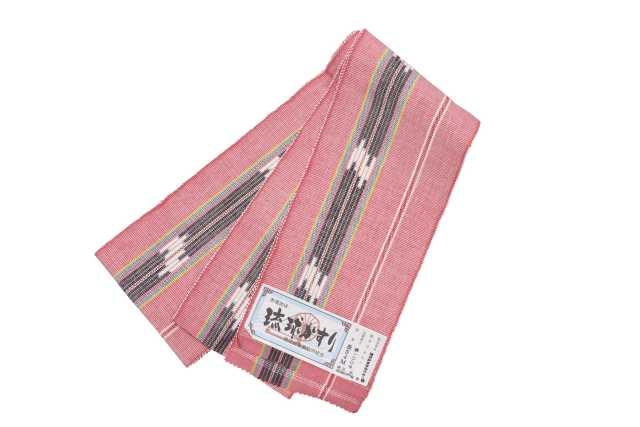 【琉球かすり半巾帯】ピンク地グレー白絣