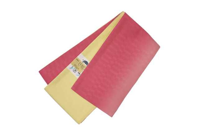 女性  『麻市松半巾帯』ピンク×イエロー