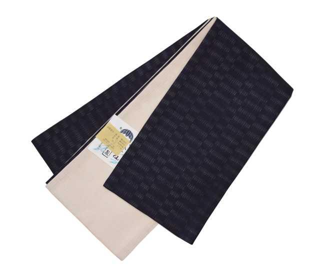 女性  『麻市松半巾帯』墨黒紫/生成