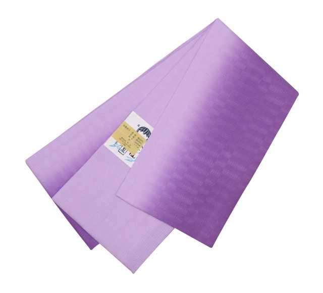 女性  『麻市松半巾帯』パープルぼかし