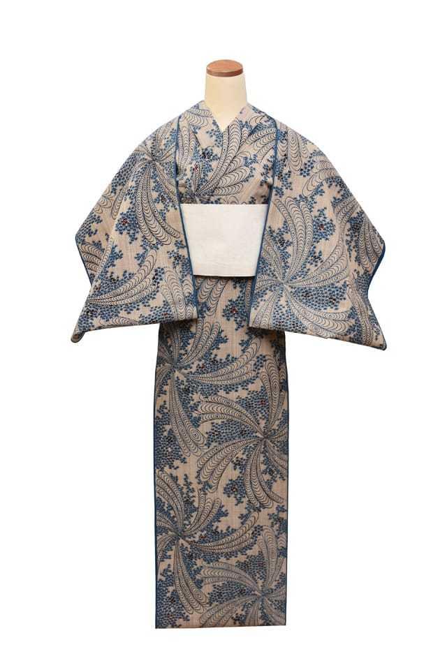 【反物】女性 『奥州小紋』花観世に紅葉