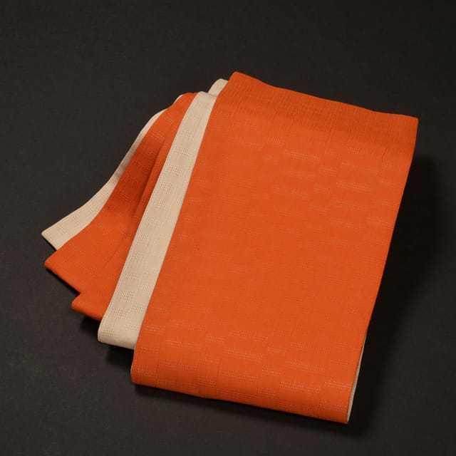 女性・麻市松半巾/オレンジ×生成