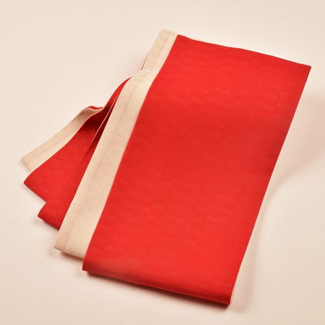 女性・麻市松半巾/赤×生成