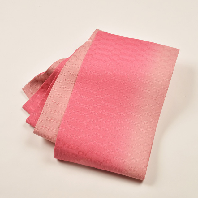 女性・麻市松半巾/ ピンクぼかし