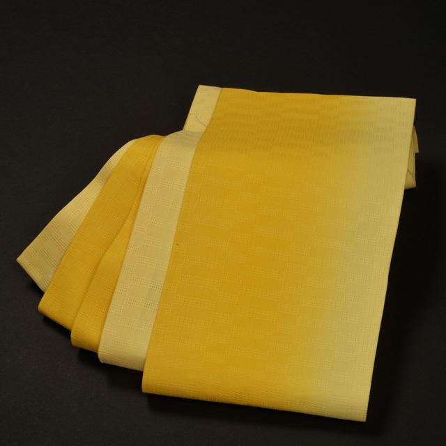 女性・麻市松半巾/ 黄色ぼかし