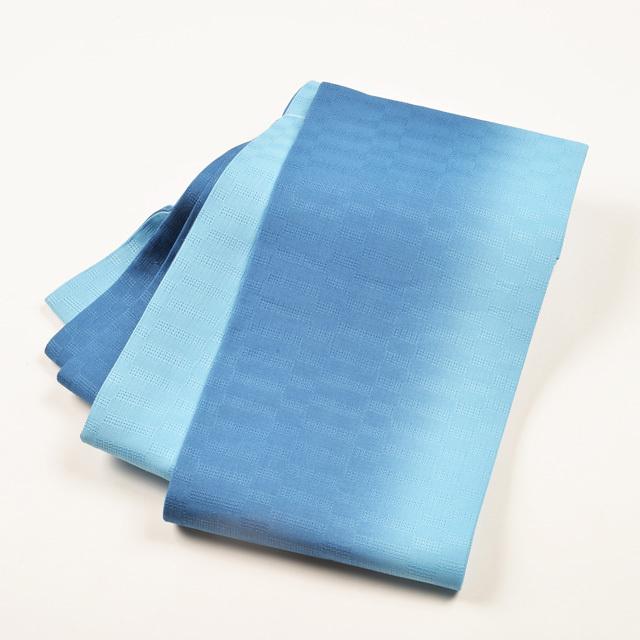 女性・麻市松半巾/ ブルーぼかし