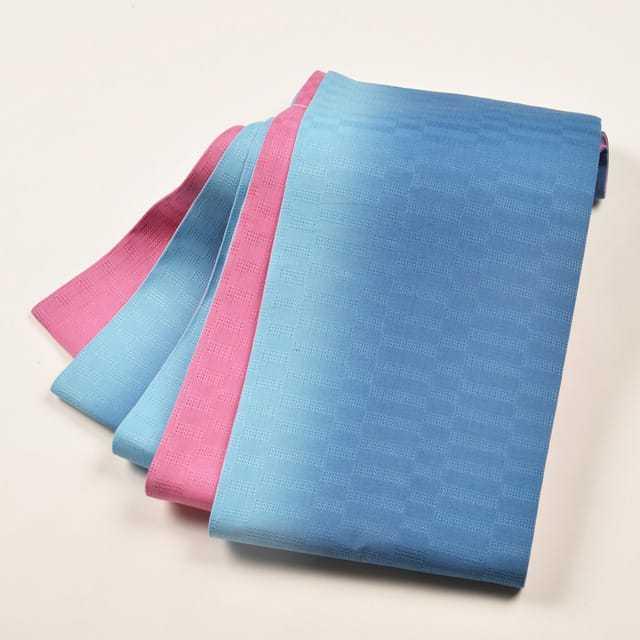 女性・麻市松半巾/ 濃ピンク×ブルー