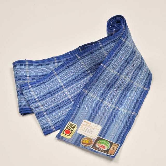 【道屯花織半巾帯】ブルー
