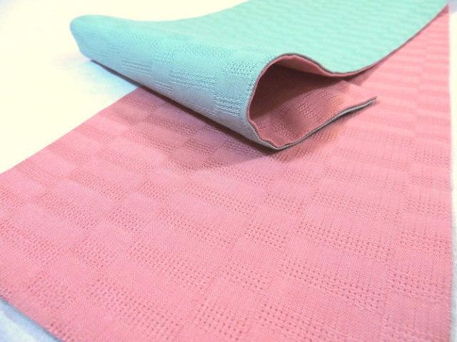 麻市松半巾帯/ミント ピンク