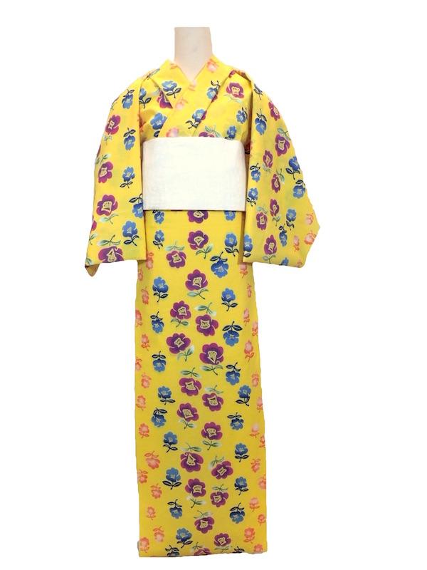 【通販限定浴衣反物】女性 『玉むし』 コーマ地 黄色地・椿