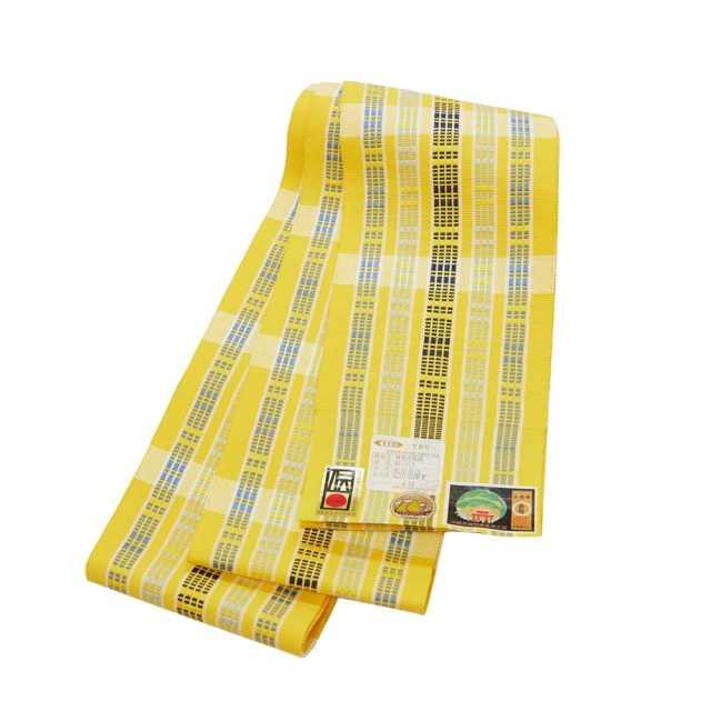 【道屯花織半巾帯】黄色地 藍濃淡縞