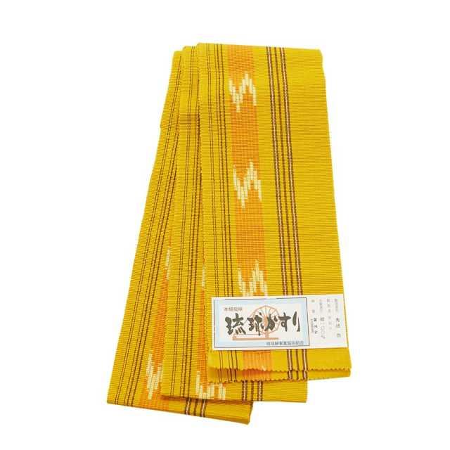 【琉球かすり半巾帯】欝金色地 橙色絣