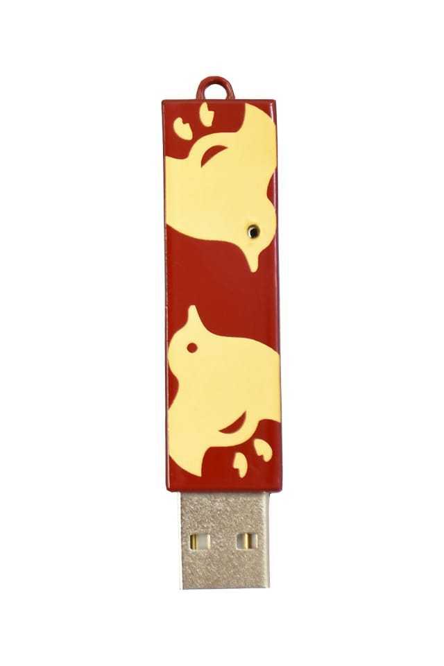 竺仙 本漆塗USBメモリ 千鳥・赤