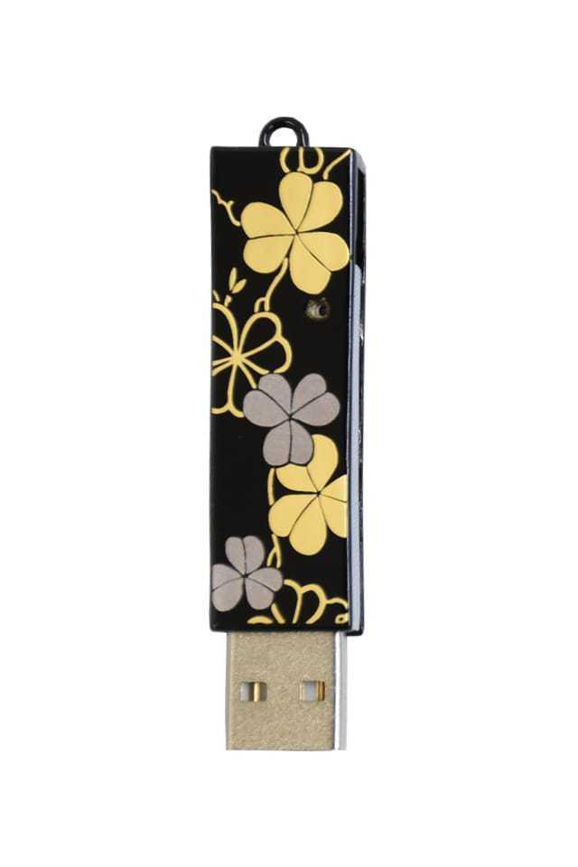 竺仙 本漆塗USBメモリ クローバー・黒