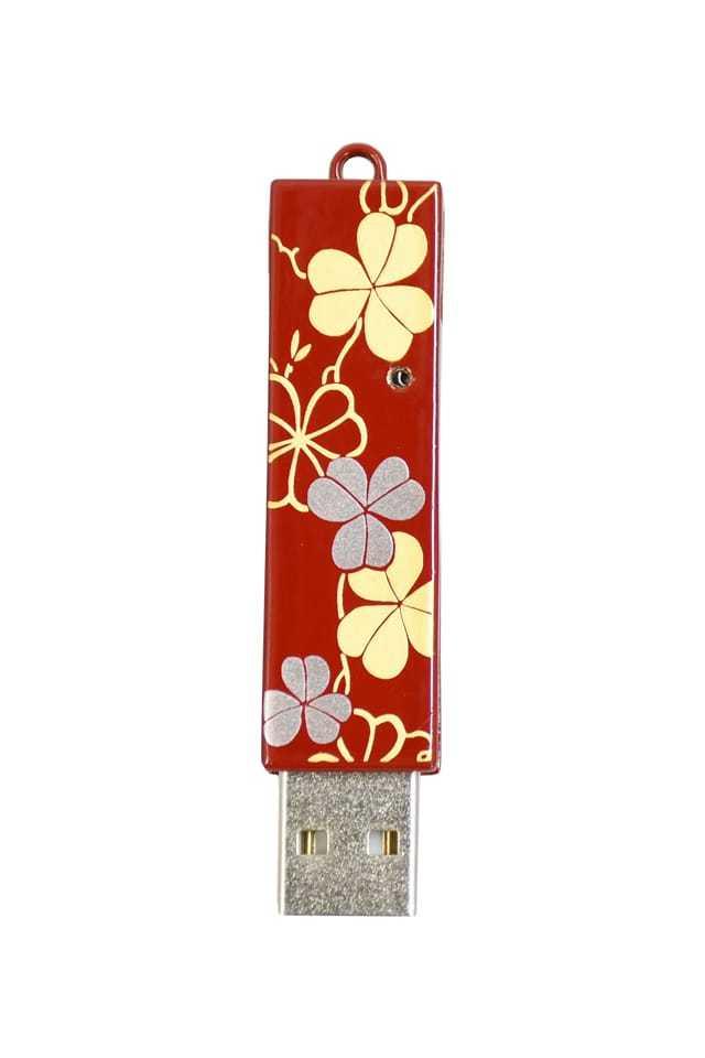 竺仙 本漆塗USBメモリ クローバー・赤