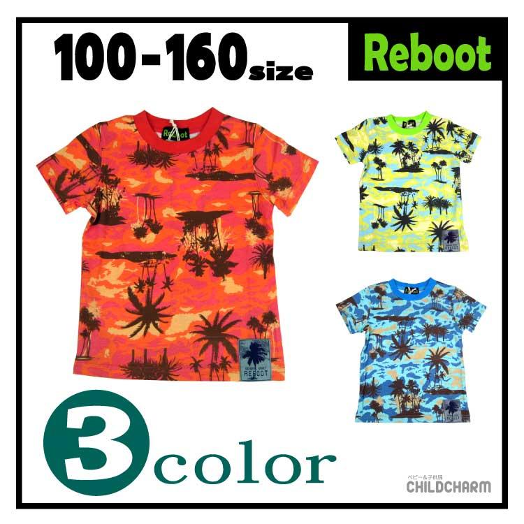 【1000円均一♪】Reboot(リブート)ヤシの木柄半袖Tシャツ【メール便可能】