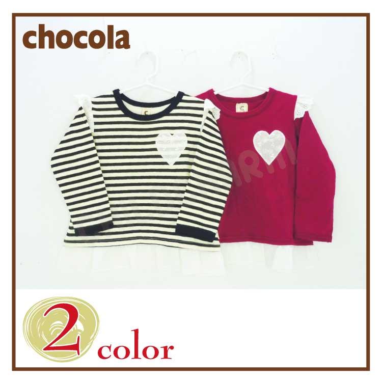 【SALE!!20%OFF!!】chocola(ショコラ)ハート&裾レースチュニックTシャツ【メール便可能】