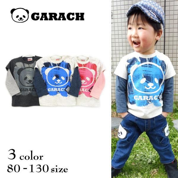 【SALE!50%OFF!!】GARACH(ギャラッチ) ペイントパンダ長袖レイヤードTシャツ【メール便可能】