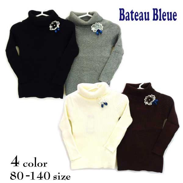 【SALE!50%OFF!!】 Bateau Bleue(バトーブルー)フラワーコサージュ付きタートルニット【メール便可能】