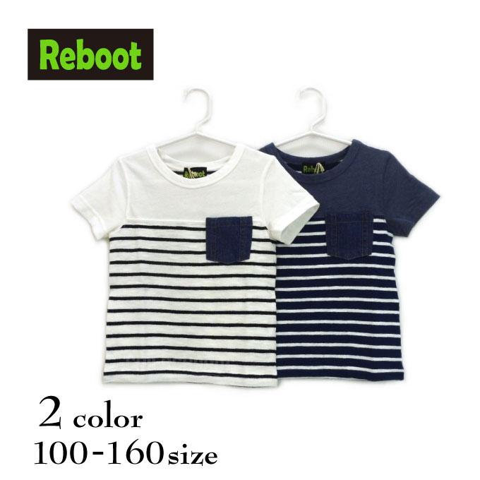 【SALE!!50%OFF!!】Reboot(リブート)胸ポケット付きボーダー切替半袖Tシャツ【メール便可能】