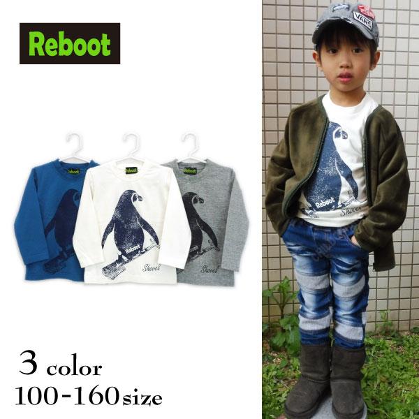 【SALE!50%OFF!!】Reboot(リブート)ペンギンプリント長袖Tシャツ【メール便可能】