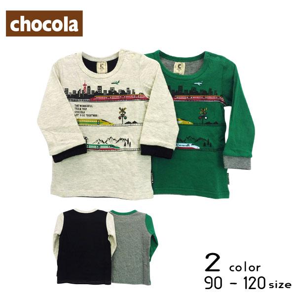 【2019秋物新作】chocola(ショコラ)新幹線プリント長袖Tシャツ【メール便送料無料】