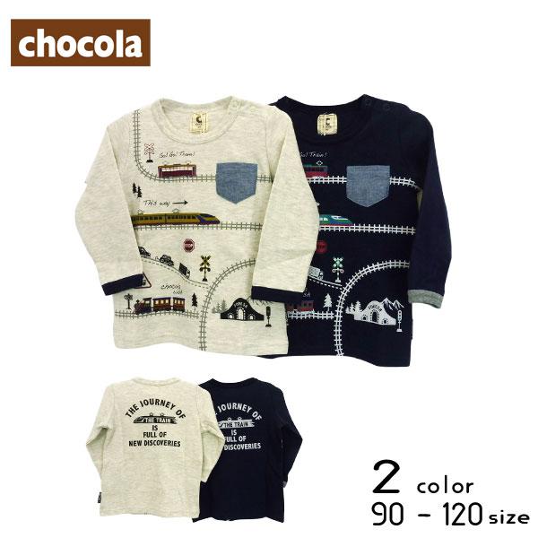 【2019秋物新作】chocola(ショコラ)乗り物プリント長袖Tシャツ【メール便送料無料】