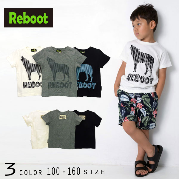 【50%OFFSALE】Reboot(リブート)ウルフプリント半袖Tシャツ【メール便可能】