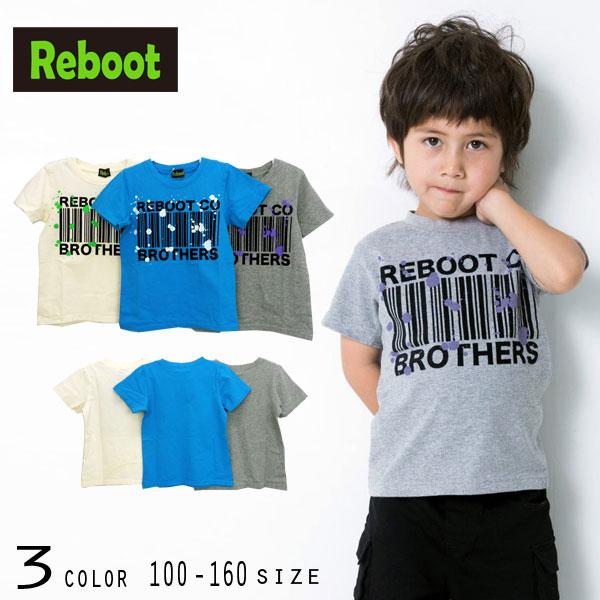 【50%OFFSALE】Reboot(リブート)バーコードフロッキープリント半袖Tシャツ【メール便可能】