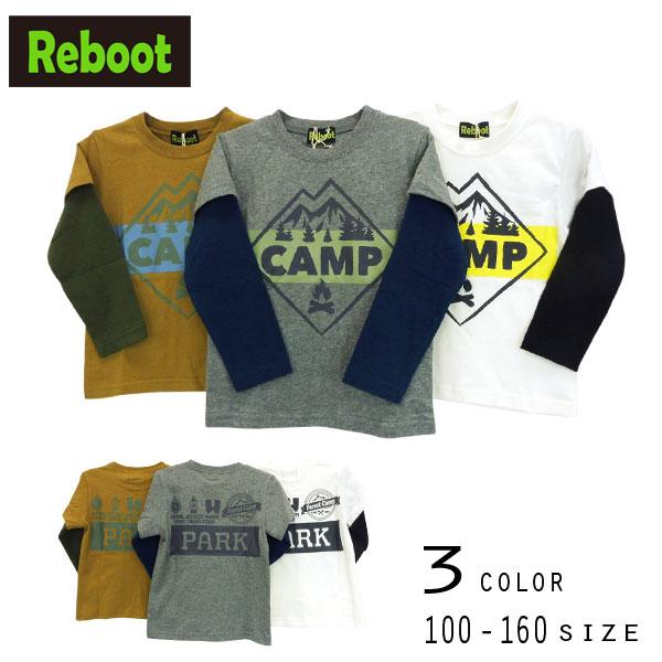 【30%OFFSALE】Reboot(リブート)CAMPプリントレイヤードTシャツ【メール便可能】