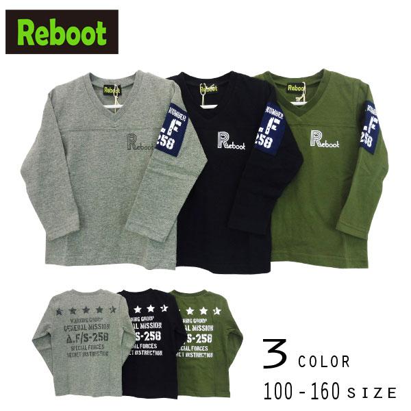 【2019秋物新作】Reboot(リブート)ロゴプリントVネック長袖Tシャツ【メール便送料無料】