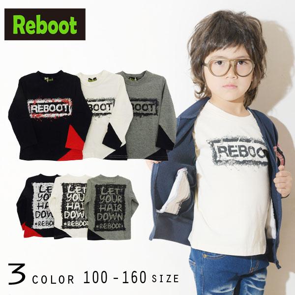 【2019秋物新作】Reboot(リブート)かすれロゴプリント長袖Tシャツ【メール便送料無料】