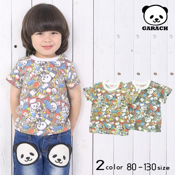 【50%OFFSALE】GARACH(ギャラッチ)おもちゃパンダ総柄半袖Tシャツ【メール便可能】