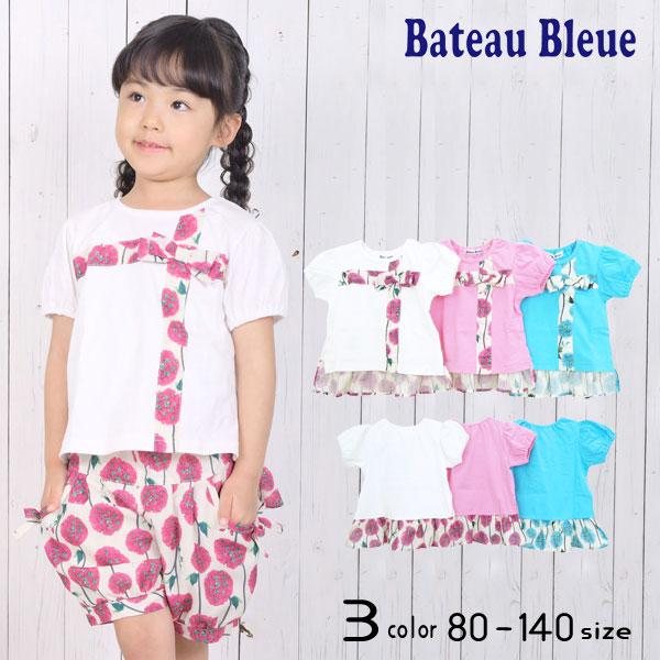 【50%OFFSALE】Bateau Bleue(バトーブルー)花柄リボン&裾フリル半袖Tシャツ【メール便可能】