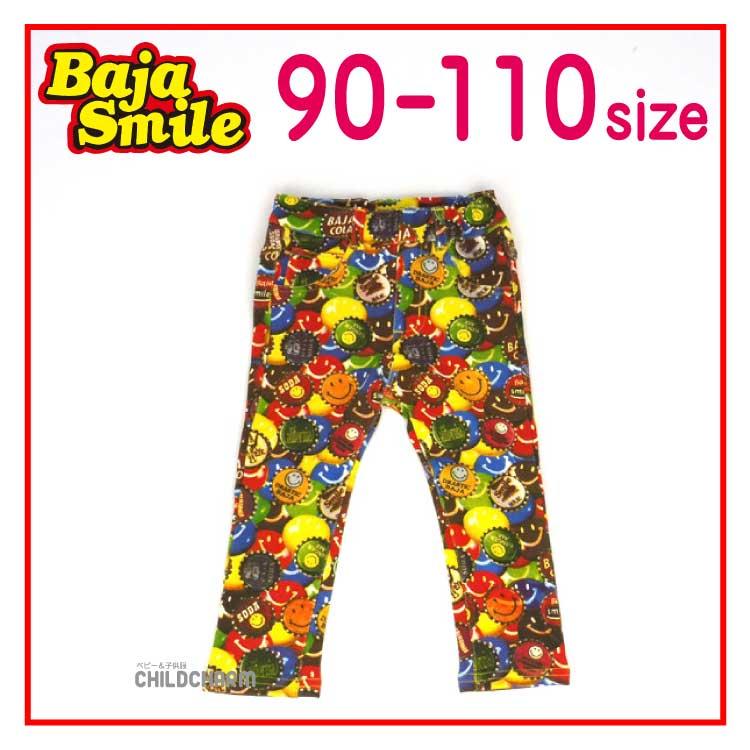 【SALE!!20%OFF!!】Baja Smile(バハスマイル)ミニ裏毛スマイルパッチ柄スキニーパンツ【メール便可能】