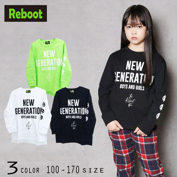 【2020秋物新作】Reboot(リブート)ロゴプリントビックロングTシャツ【メール便送料無料】