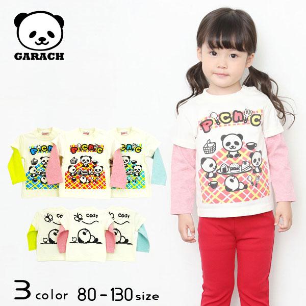 【30%OFFSALE】GARACH(ギャラッチ) ピクニックパンダレイヤードTシャツ【メール便送料無料】