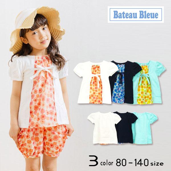 【10%OFFSALE】【2021夏物新作】Bateau Bleue(バトーブルー)花柄切替半袖Tシャツ【メール便送料無料】