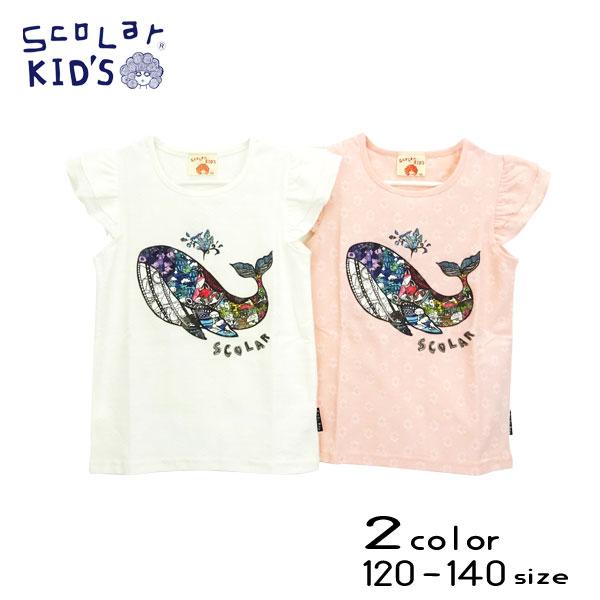 【2021夏物新作】ScoLar(スカラー)くじらプリント半袖Tシャツ【メール便送料無料】